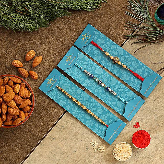 Set Of 3 Traditional Rakhis & Healthy Almonds