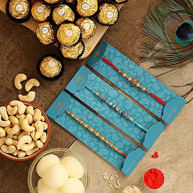 Set Of 3 Traditional Rakhis & Sweets Hamper:Mauli Rakhi to Singapore