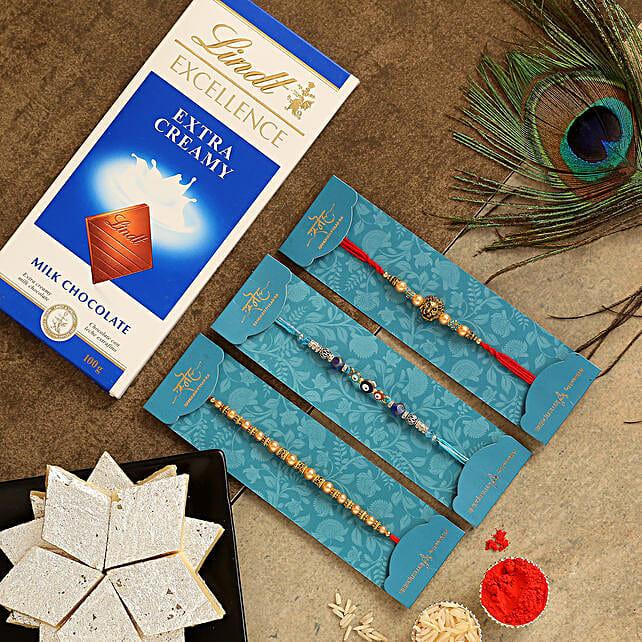 Set Of 3 Traditional Rakhis & Sweets With Chocolate:Mauli Rakhi to Singapore