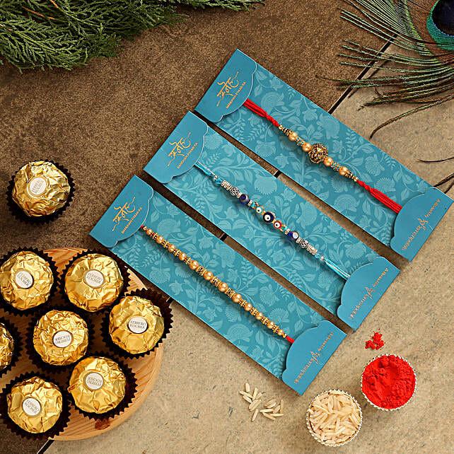 Set Of 3 Traditional Rakhis & Tempting Ferrero Rocher