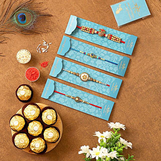 Set Of 4 Designer Rakhis & 5 Pcs Ferrero Rocher:Set of 4 Rakhi to Singapore