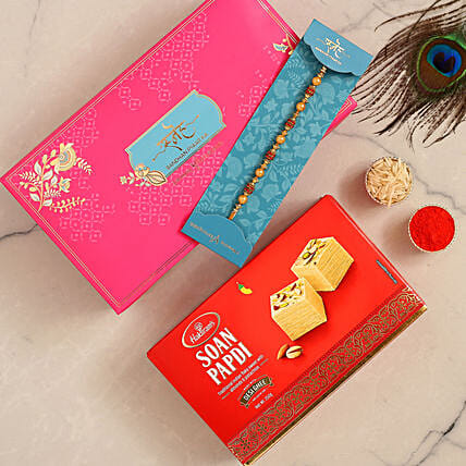 Traditional Golden Pearl Rakhi And Soan Papdi:Rakhi for Brother in Singapore