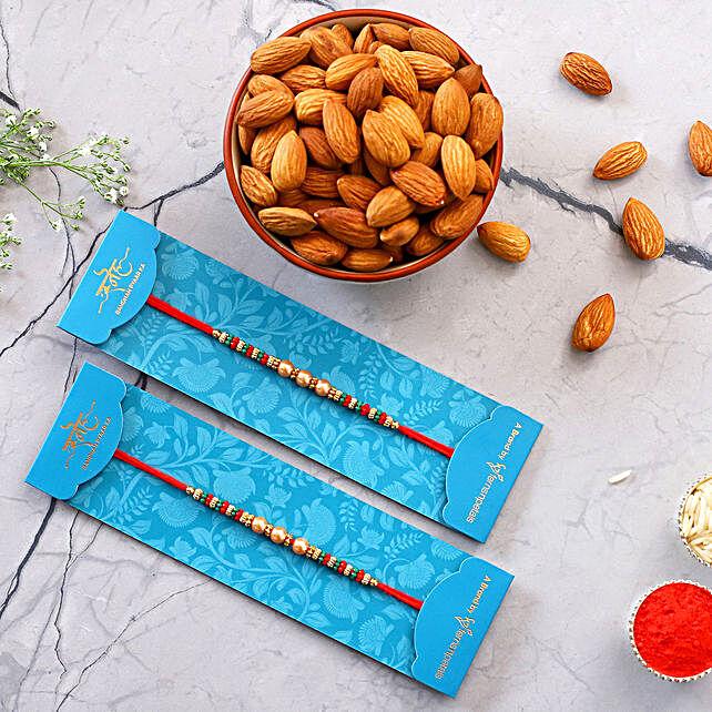 2 Ethnic Rakhis N Almonds Combo