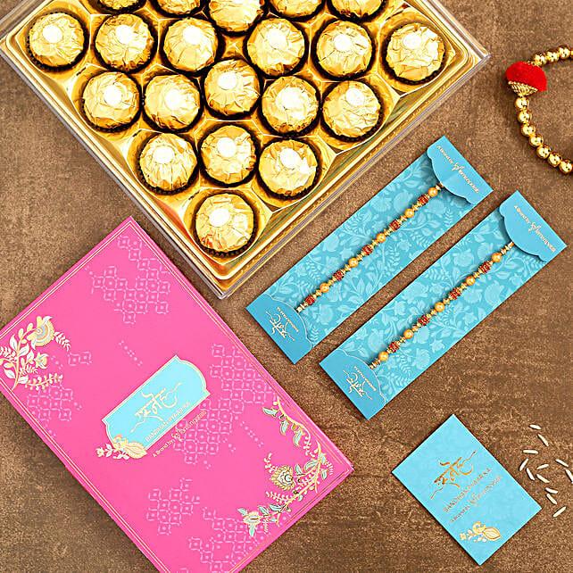 2 Pearl Studded Rakhis N Chocolate Combo
