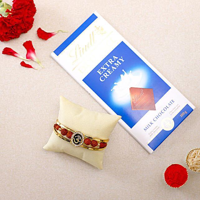 Om Rudraksha Bracelet Rakhi N Lindt Chocolate:Devotional Rakhi to Singapore