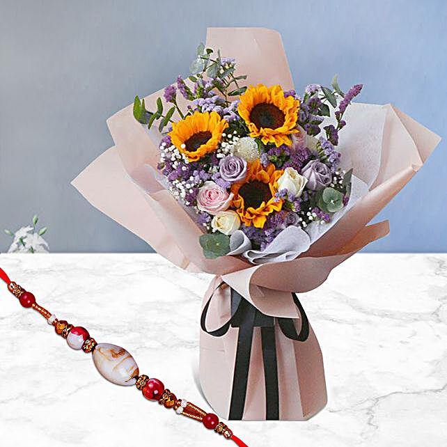 Happy Sunshine Bouquet With Designer Shell Rakhi