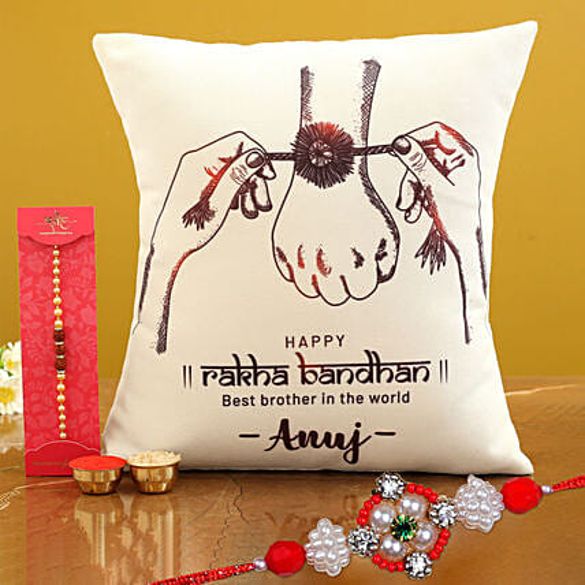 Personalised Cushion With Floral Rakhi
