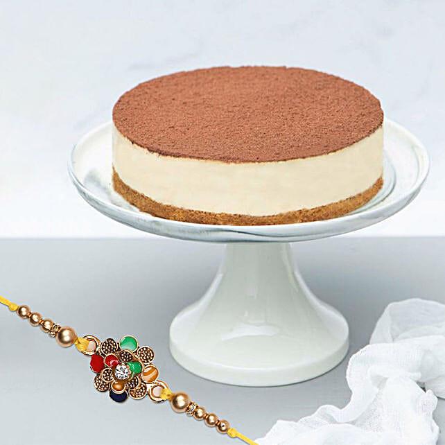 Tiramisu Cake With Traditional Meenakari Rakhi