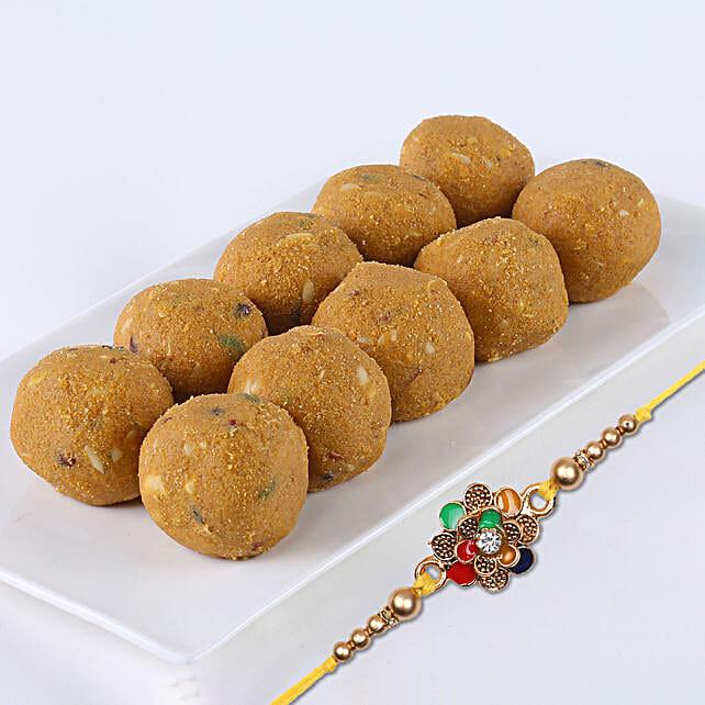 Traditional Meenakari Rakhi with Besan Laddu