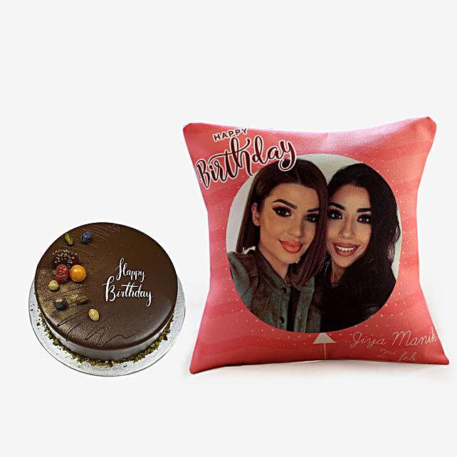 Chocolate Cake and Personalised Cushion