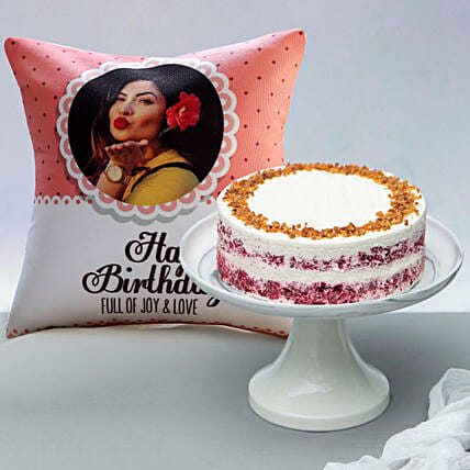Classic Red Velvet Peanut Butter Cake and Personalised Cushion