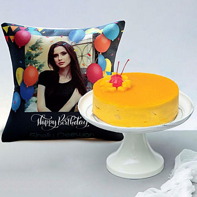 Tangy Mango Mousse Cake with Personalised Cushion