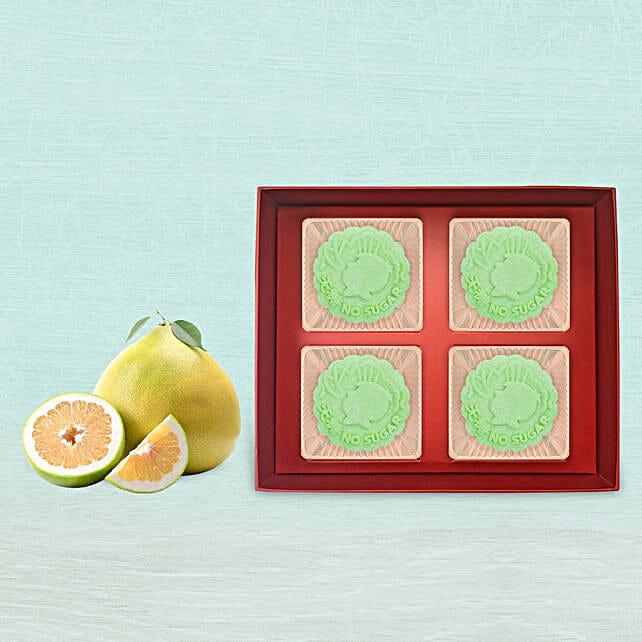 Lotus Osmanthus Snowskin Mooncake With 3 Pcs Pomelo Fruit