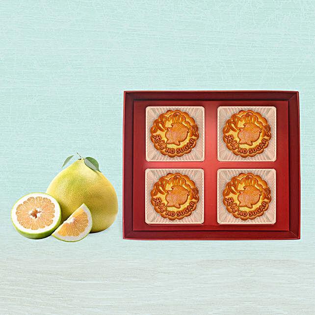 Lotus Pure Bakeskin Mooncake With 6 Pcs Pomelo Fruit