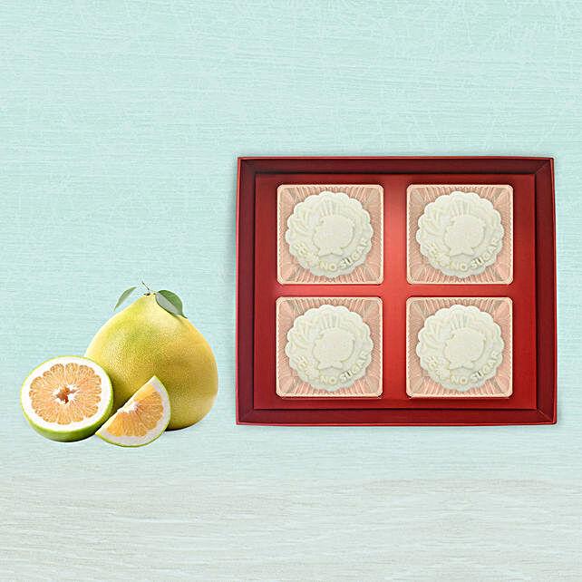 Lotus Pure Snowskin Mooncake With 6 Pcs Pomelo Fruit