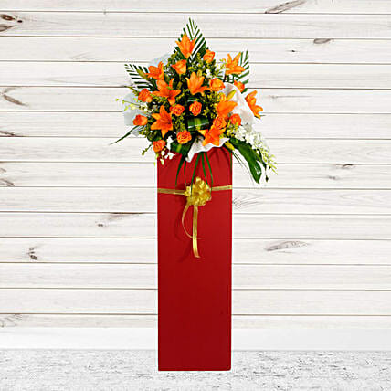 Vibrant Mixed Flowers Cardboard Stand
