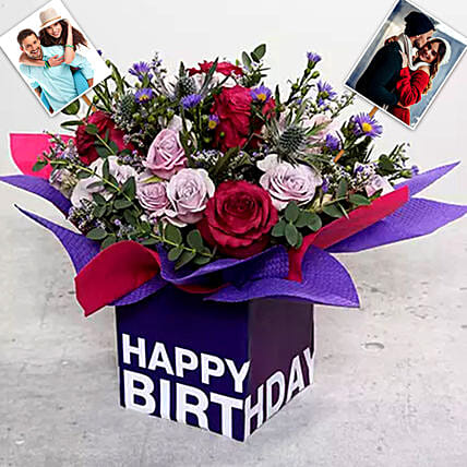 Personalised Mixed Flowers With Square Glass Vase:Personalised Gifts to Singapore