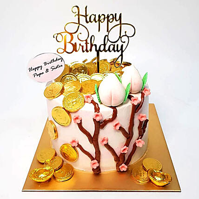 White Pink Money Pulling Cake