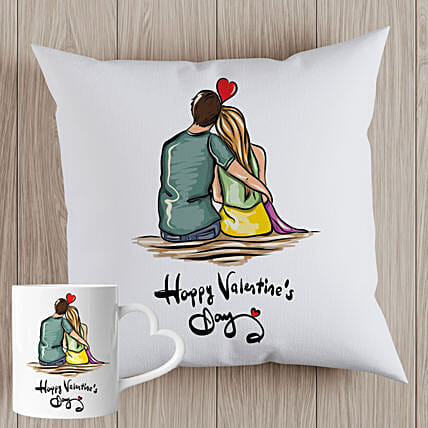 Valentines Couple Sketch Cushion and Mug