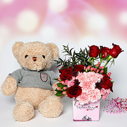 Valentines Flowers and Teddy
