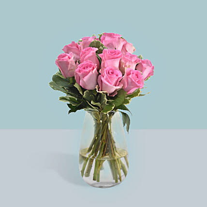 Vase Of Delicate Pink Roses