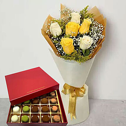 White And Yellow Roses With Truffles