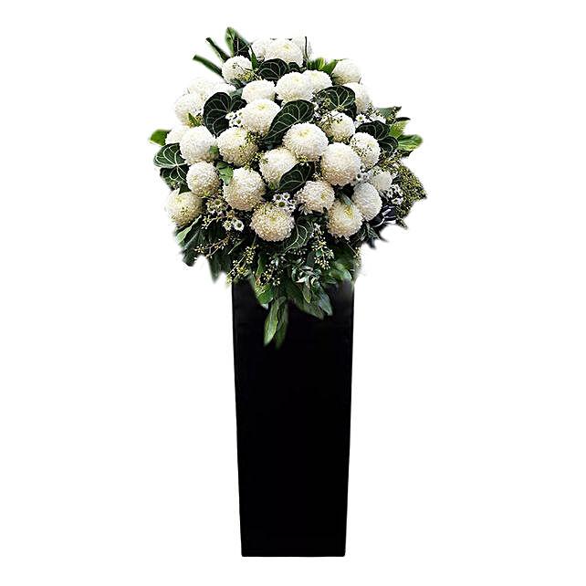 White Ball Mums Flower Stand