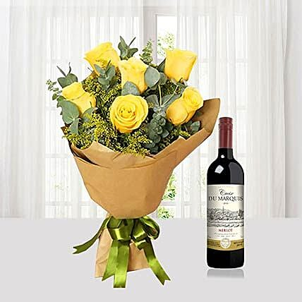 Yellow Roses Bouquet N Wine Combo