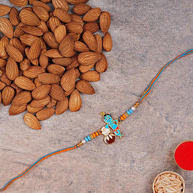 Adorable Bal Krishna Kids Rakhi And Almonds