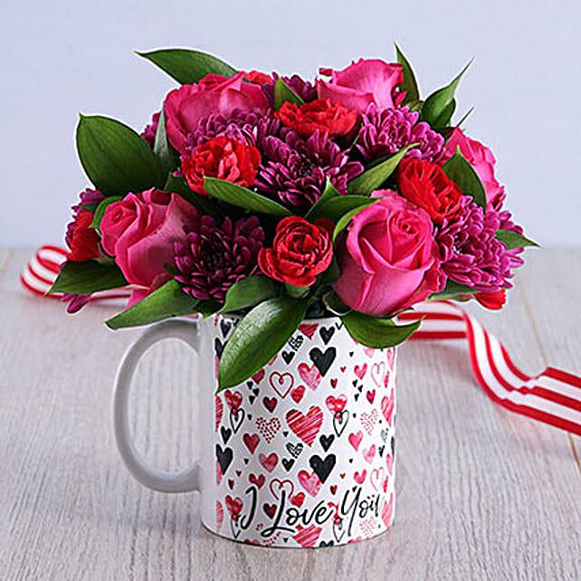 Cerise Mixed Roses Bouquet