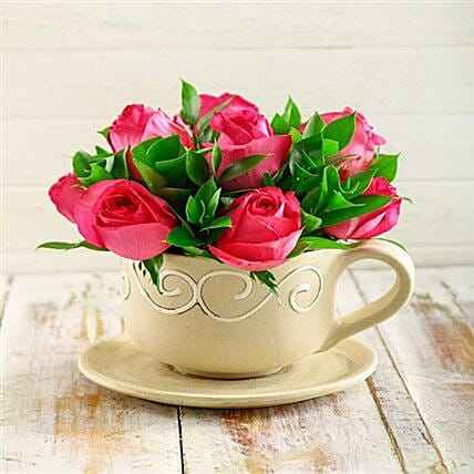 Cerise Roses In A Teacup