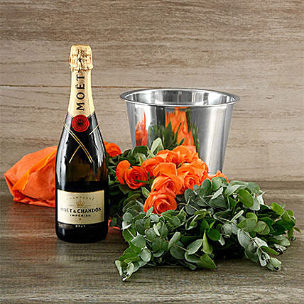 Orange Rose And Moet Surprise