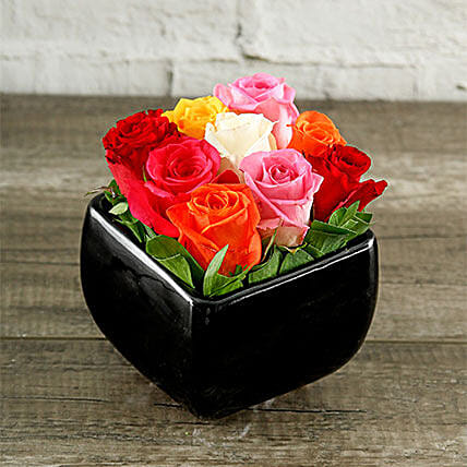 Rainbow Roses In Black Square Vase
