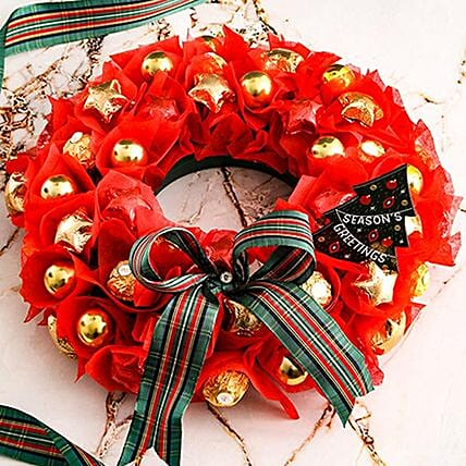 Red And Golden Chocolate Wreath:Gift Delivery in South Africa