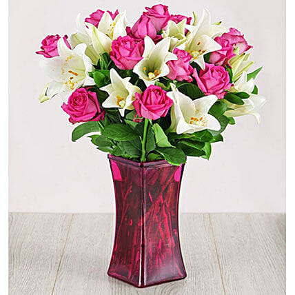 Roses And Lilies In Pink Flair Vase