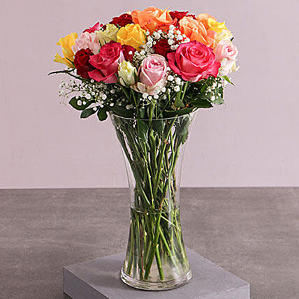 Mixed Roses And Million Stars In A Vase