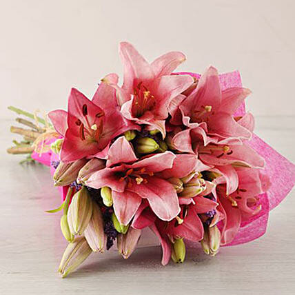 Pink Asiflorum Lily Bouquet:Gifts to South Africa