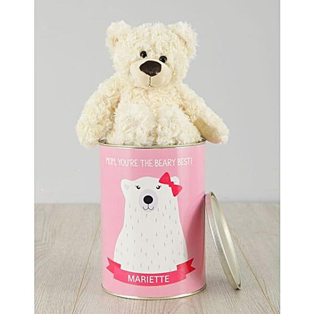 Personalised Beary Best Mom Teddy Tin