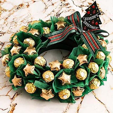 Classic Green And Golden Chocolate Wreath