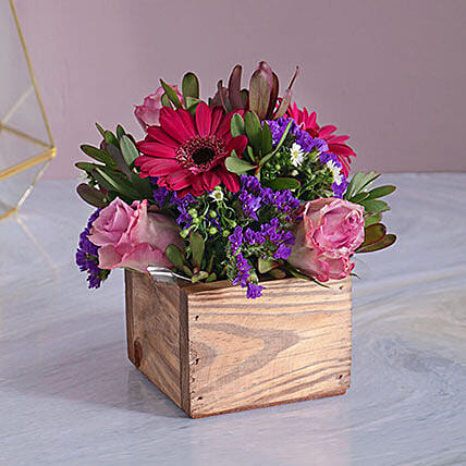 Vibrant Floral Wood Crate