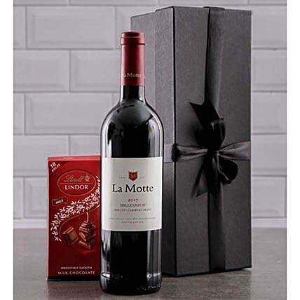 Wine And Lindt Chocolate Gift Combo