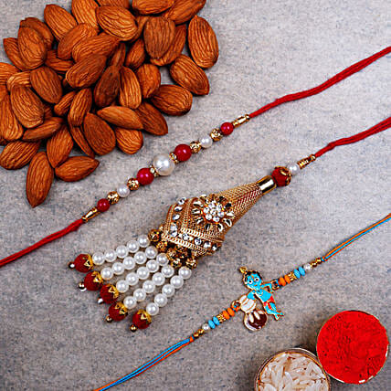 Family Set Of Rakhis And Almonds