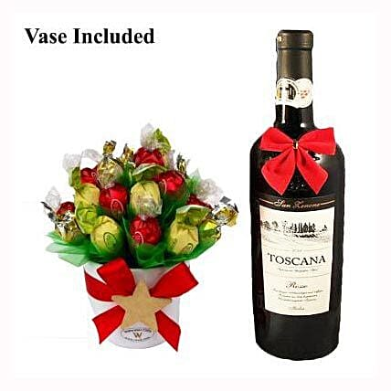 Classic Christmas Sweet Bouquet with Red Wine