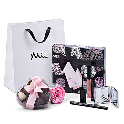 Mii Luxurious Make Up Set with Godiva And Rose:Rakhi Gifts for Sister in Switzerland