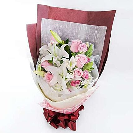 Exotic Rose And Lilies Duo Bouquet