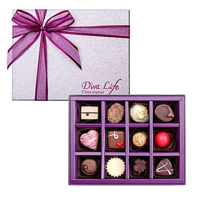Tempting Assorted Belgian Chocolates Box 12 Pcs
