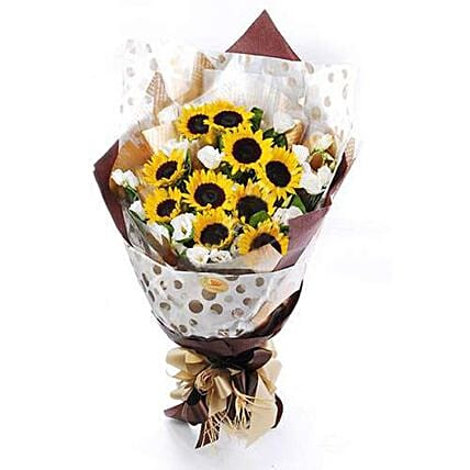 Vibrant Sunflower And Eustoma Bouquet