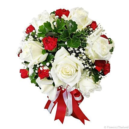 Holiday Shine White Roses:Send Rakhi Gifts to Thailand for Sister
