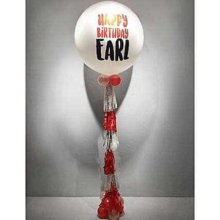 Personalised Happy Birthday White Bubble Balloon