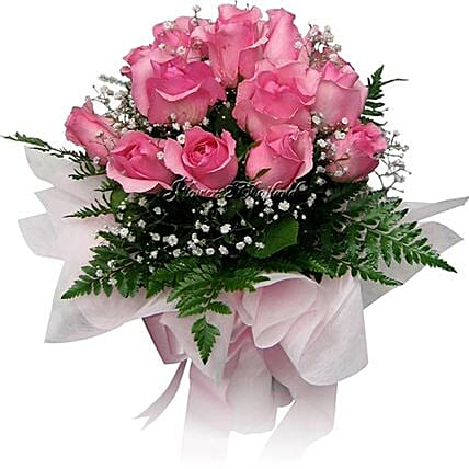 Pretty Pink Rose Bouquet:Rakhi Gifts for Sister in Thailand